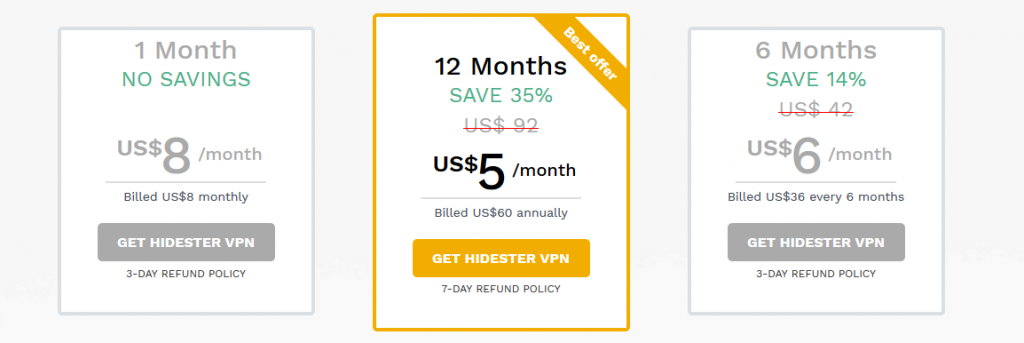 Hidester Pricing