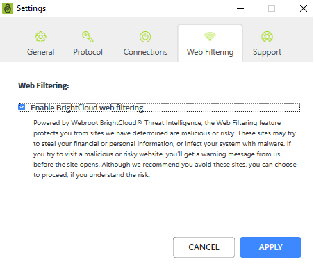 webroot wifi security vpn web filter
