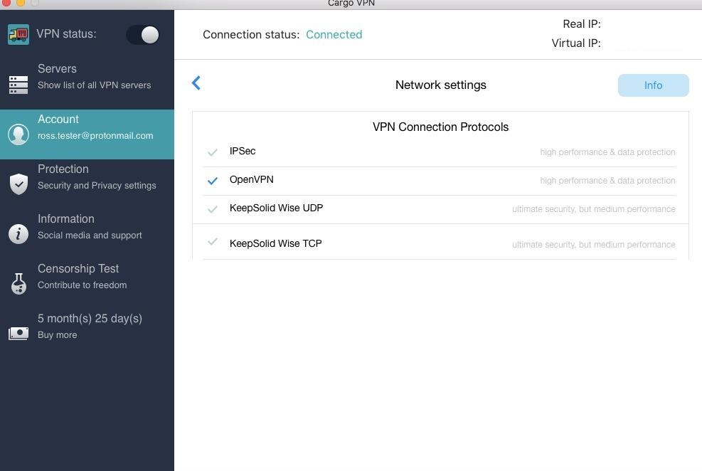 cargo network settings